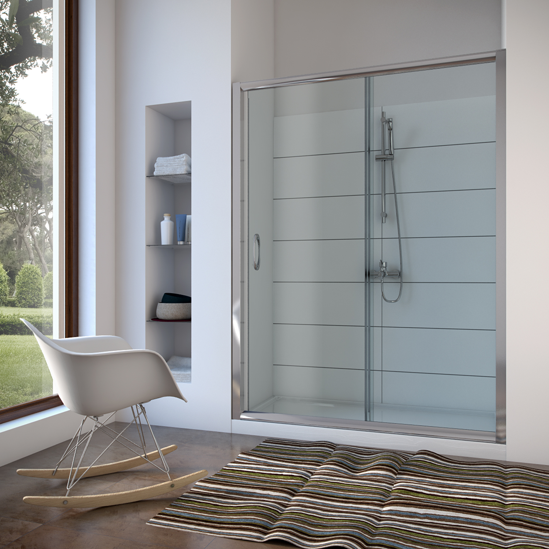 Box cabina doccia nicchia parete porta bagno cristallo scorrevole da 98 a 152 cm ebay - Doccia in nicchia ...