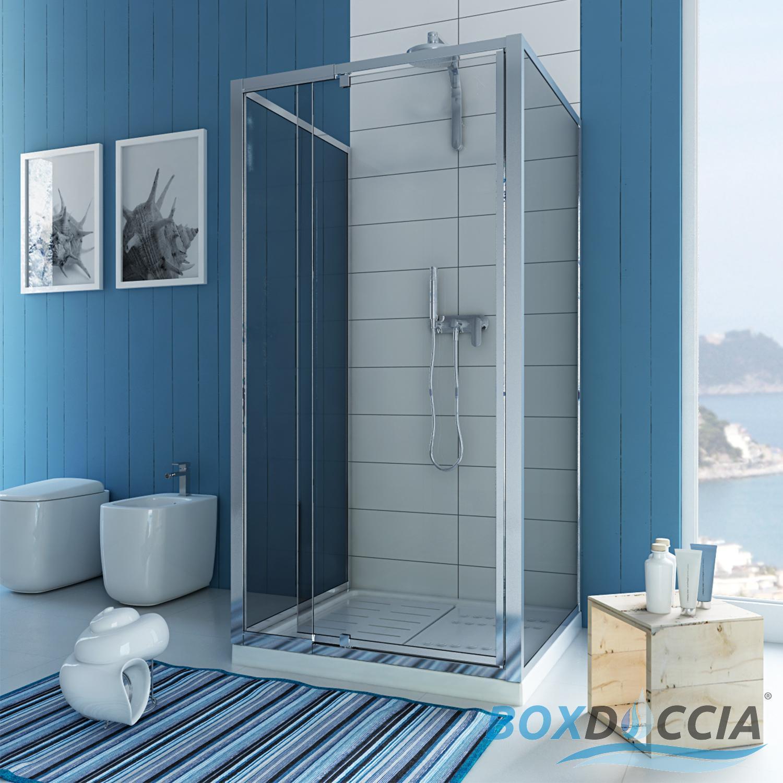 Box cabina doccia a tre 3 lati centro bagno parete fissa cristallo ...