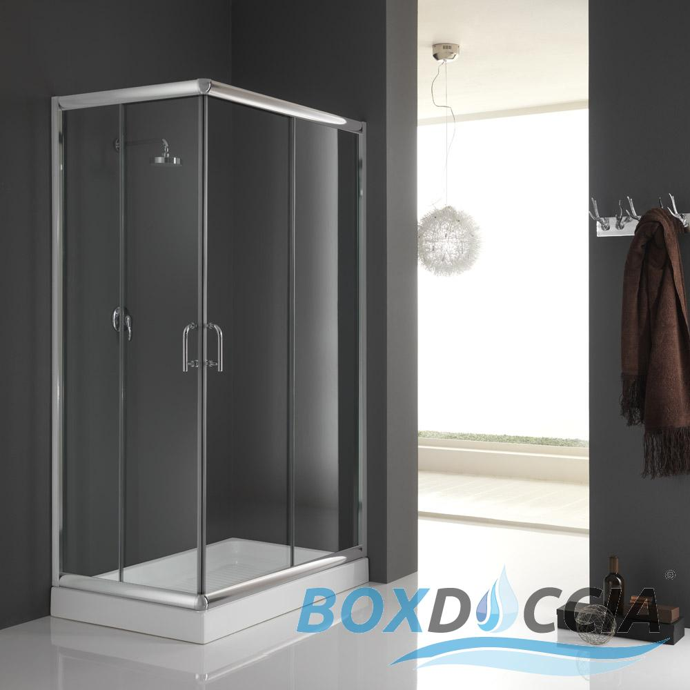 Box cabina doccia bagno vetro chiusura angolare cristallo - Chiusura doccia scorrevole ...