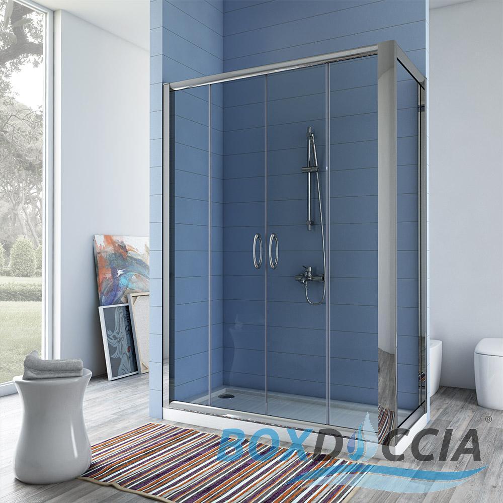 Box cabina doccia bagno chiusura vetro angolare cristallo - Chiusura doccia scorrevole ...