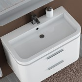 Piano lavabo in marmo artificiale 90cm tondo White 1