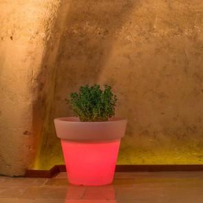 Vaso Begonia In Resina Tondo H95 Lampada Rossa Ø 110Cm