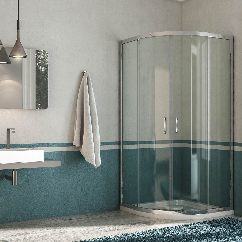 Faretti Nella Doccia: Box doccia a nicchia in cristallo acqua r ...
