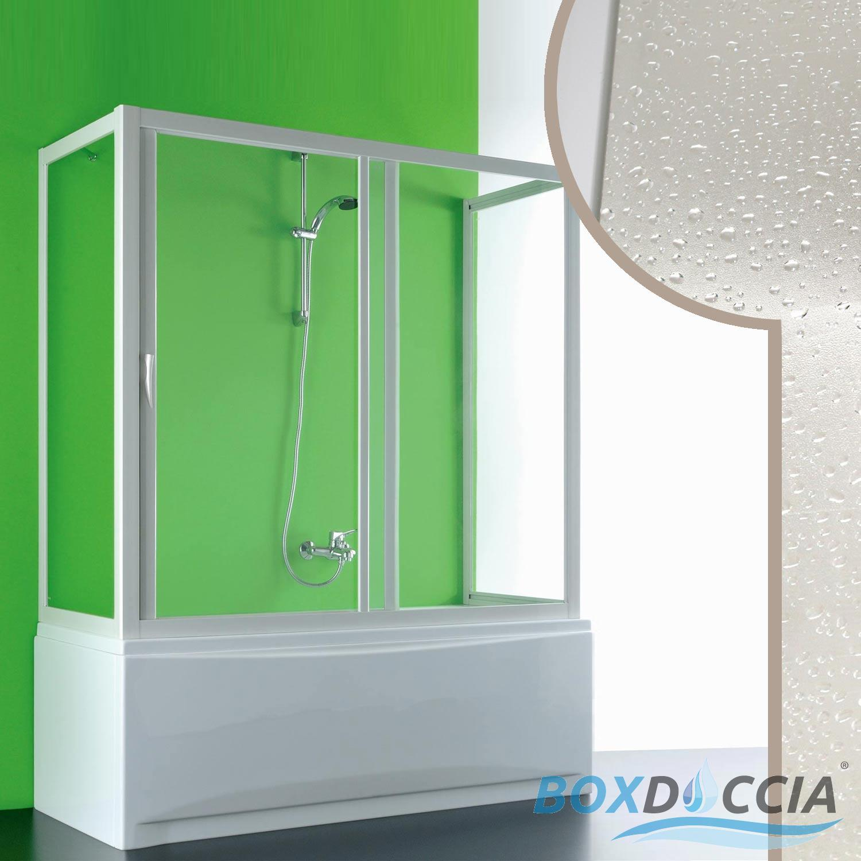 Box doccia sopra vasca tre 3 lati in pvc crilex acrilico - Box doccia chiuso sopra ...