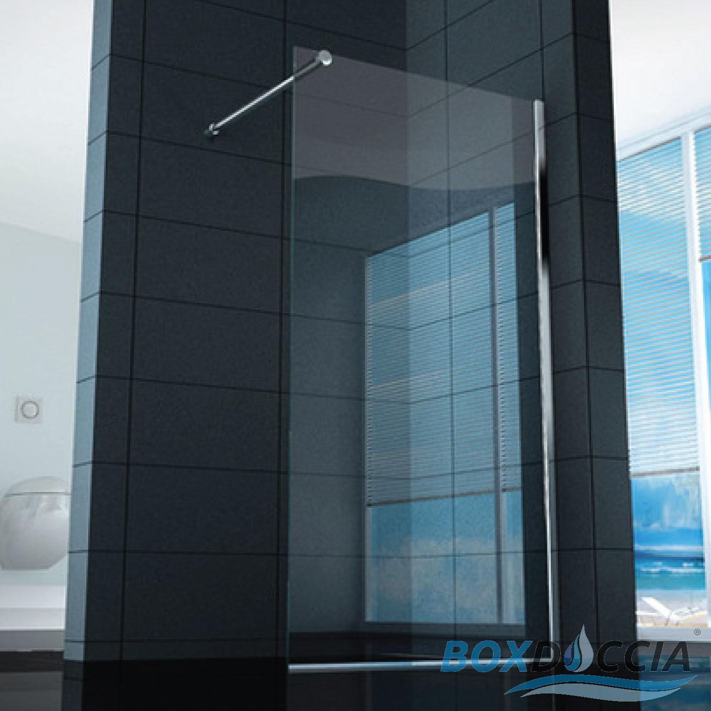 Parete In Vetro Doccia : Box cabina doccia parete fissa mm vetro temprato
