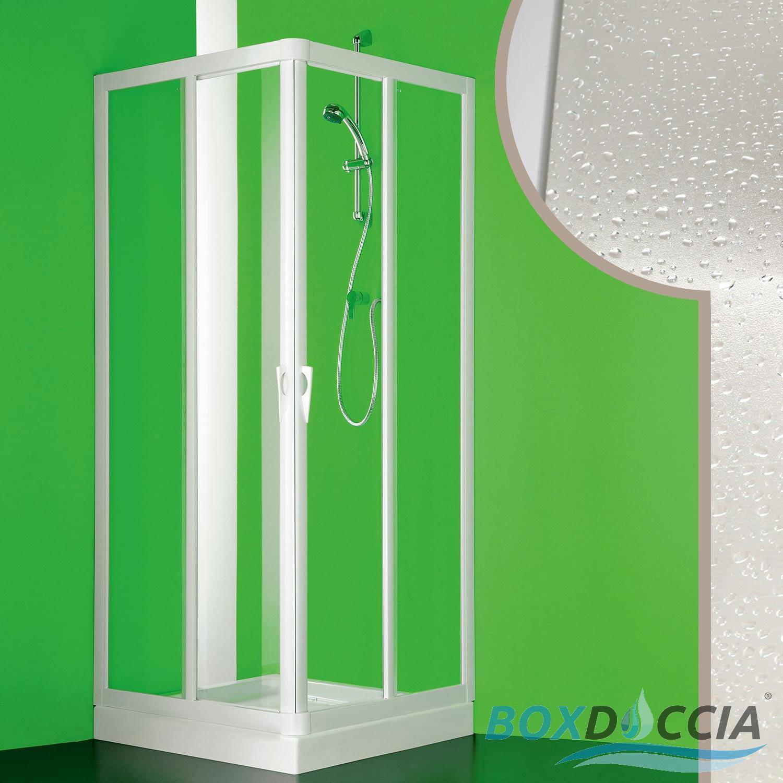 BOX DOCCIA CABINA ANGOLARE IN PVC CRILEX ACRILICO 2 ANTE SCORREVOLI CENTRALE  eBay