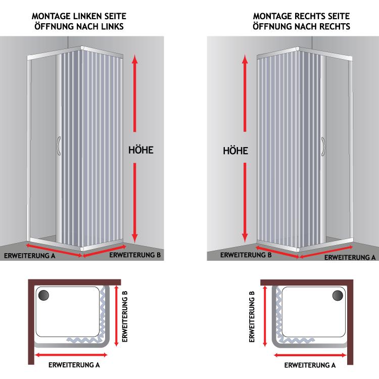 pvc duschkabine seitlicher 70x70 70x90 70x100 75x75 80x80 80x100 90x100 90x90 ebay. Black Bedroom Furniture Sets. Home Design Ideas
