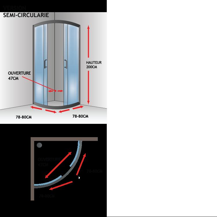 Cabine paroi douche semi circulaire transparent 6mm mod - Porte coulissante verre transparent ...