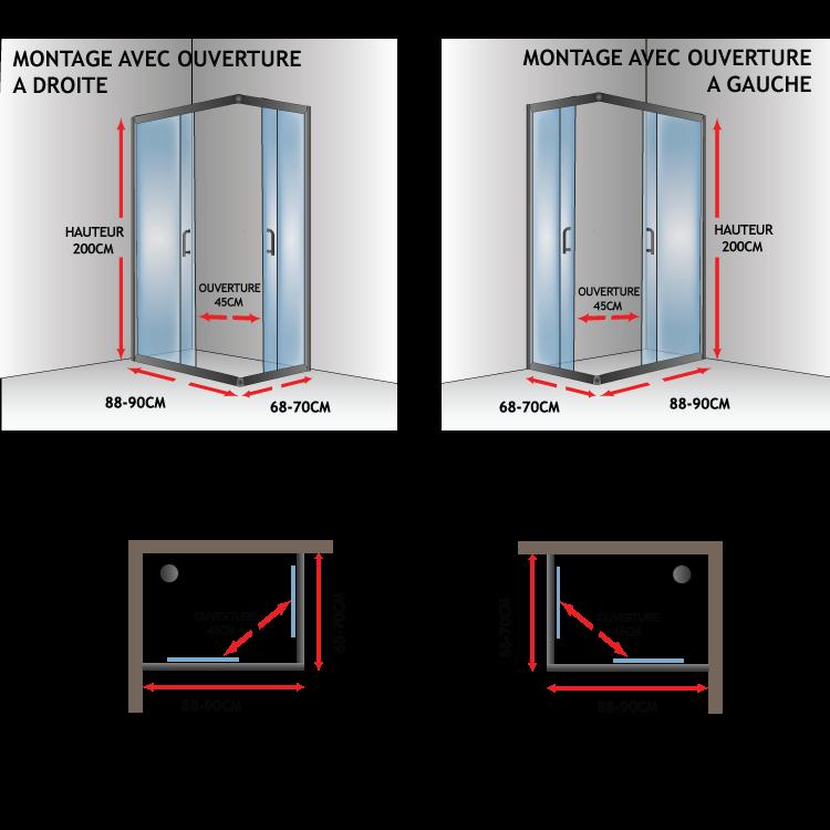 Cabine paroi douche 70x90 h200 cm transparent angulaire - Porte coulissante verre transparent ...