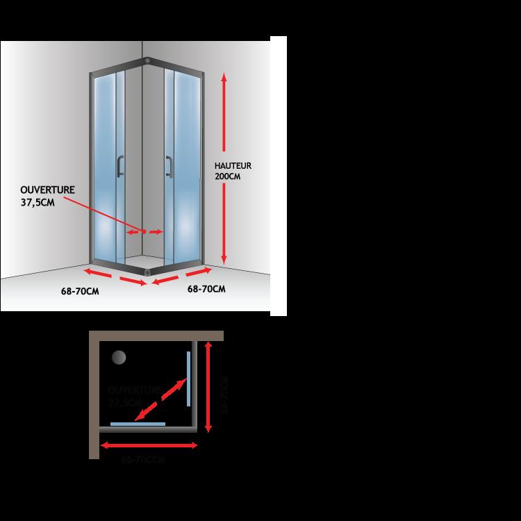 Cabine paroi douche h200 transparent 6mm mod alabama - Porte coulissante verre transparent ...