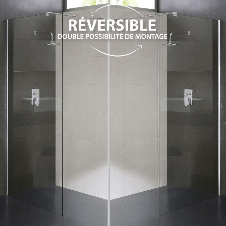 Paroi douche en verre transparent 8mm mod walk in lato for Manomano douche