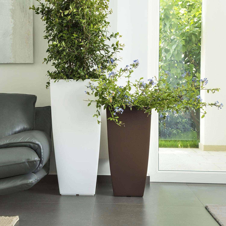 pot de fleurs r sine haut moderne carr plastique plante. Black Bedroom Furniture Sets. Home Design Ideas