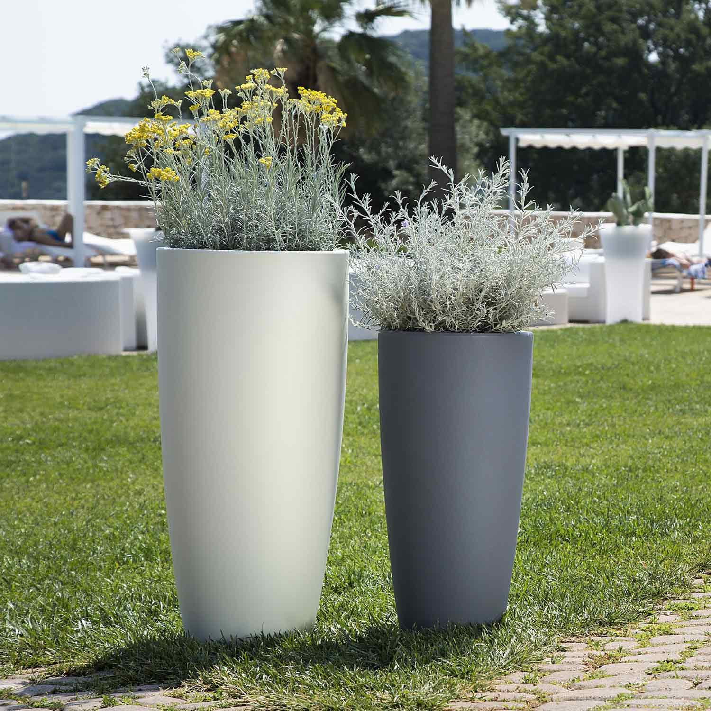 Vasi Per Piante Da Terrazzo dettagli su vaso resina alto moderno tondo plastica pianta giardino vasi  made in italy