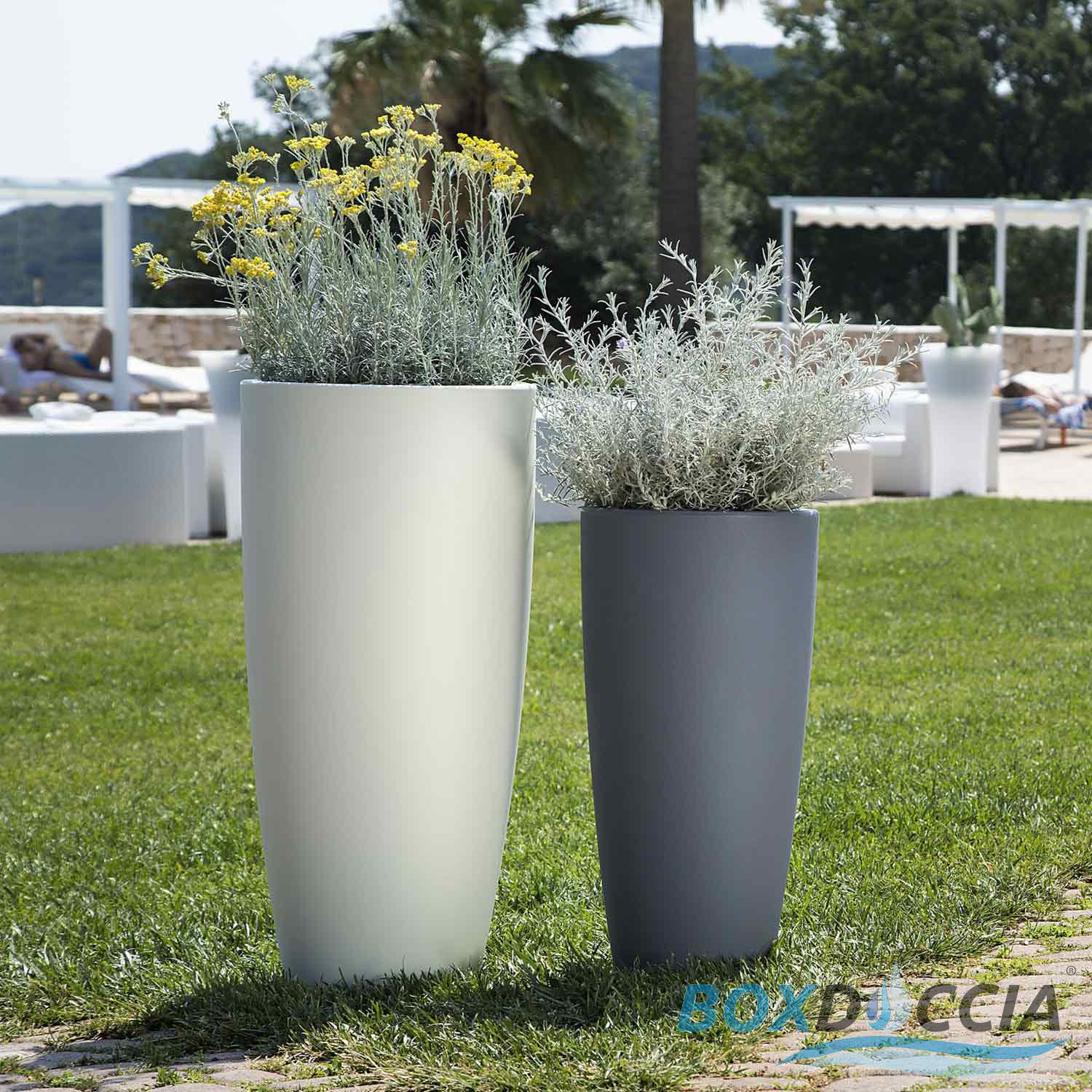 pot de fleurs r sine haut moderne rond plastique plante jardin made en italy ebay. Black Bedroom Furniture Sets. Home Design Ideas