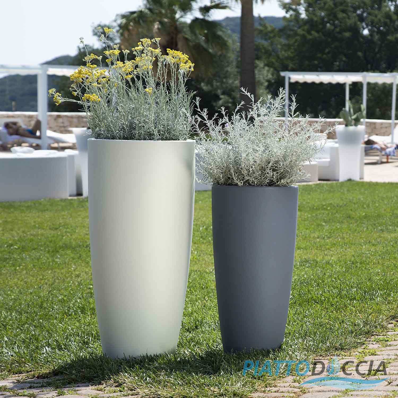 Vaso resina alto moderno tondo plastica pianta giardino for Vaso da interno moderno