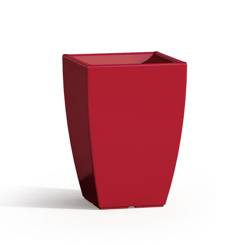 pot de fleurs carr carr r sine rouge d cor moderne made. Black Bedroom Furniture Sets. Home Design Ideas