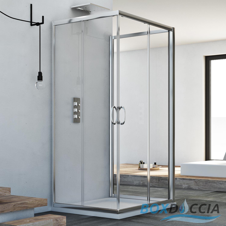3 sided shower cubicle enclosure shower screen glass sliding doors opening h1850 ebay. Black Bedroom Furniture Sets. Home Design Ideas