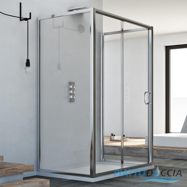 cabine de douche 3 parois en verre porte unique coulissante ebay. Black Bedroom Furniture Sets. Home Design Ideas
