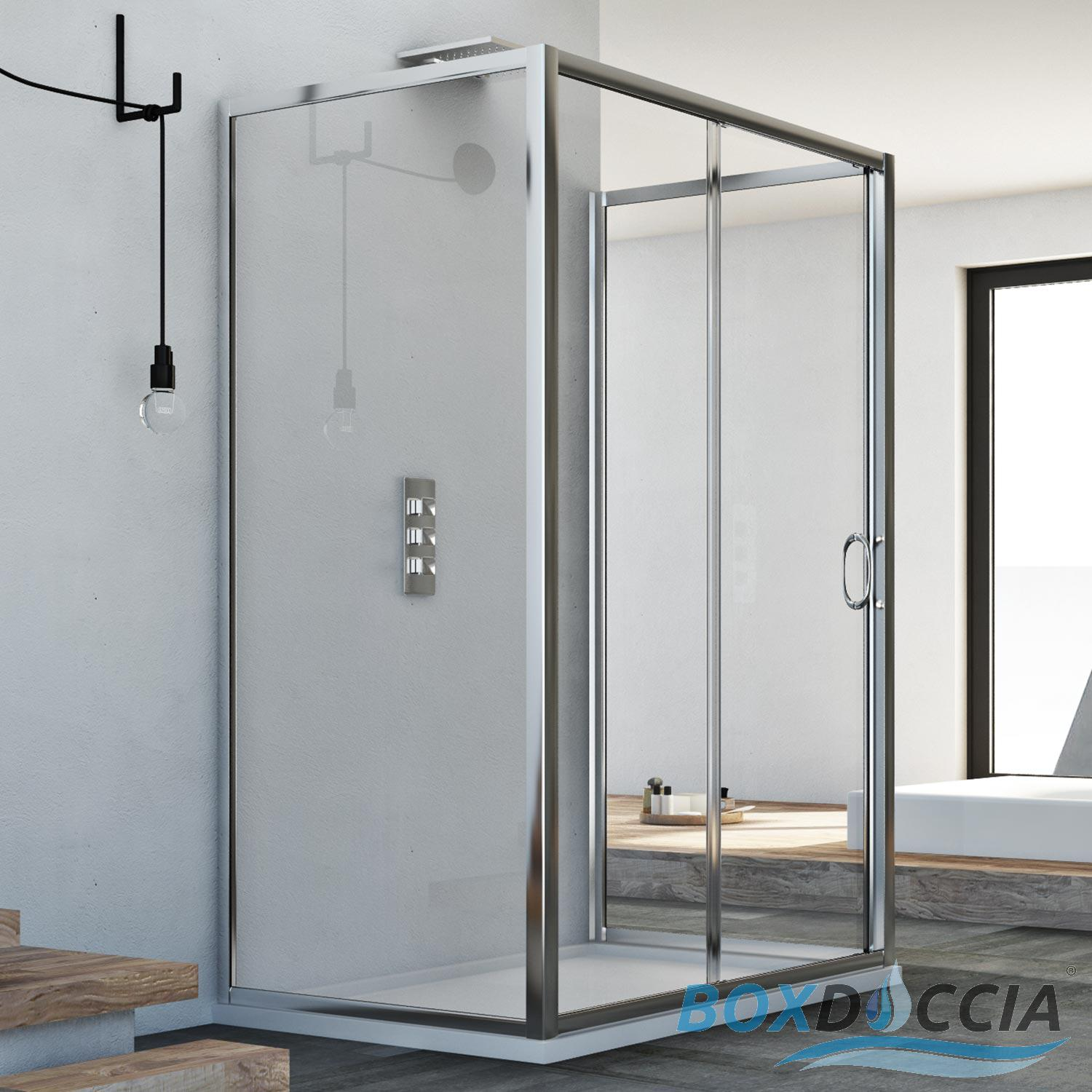 3-SIDED SHOWER ENCLOSURE CUBICLE SLIDING DOOR FRONT OPENING GLASS ...