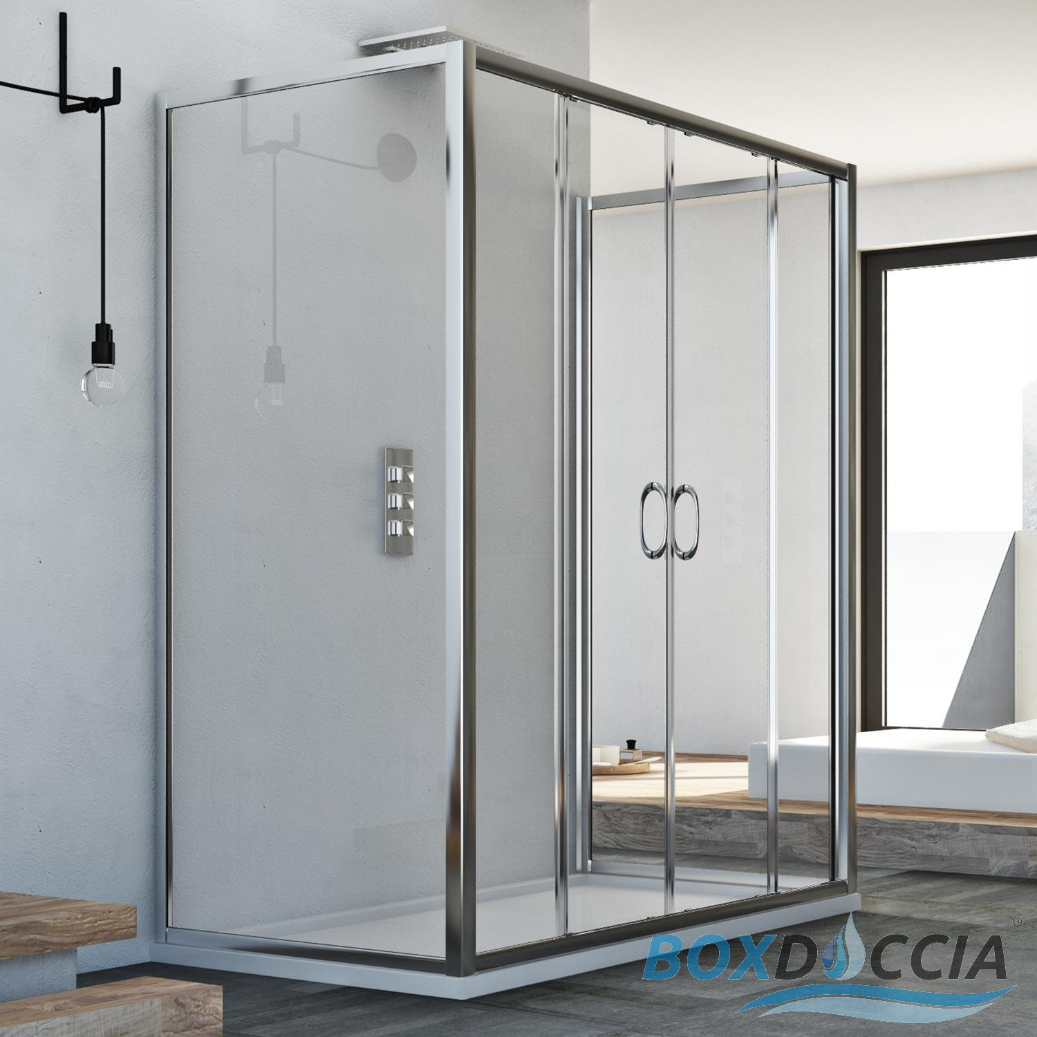 3-SIDED SHOWER CUBICLE SCREEN 2 SLIDING DOORS REAL GLASS CENTRAL ...