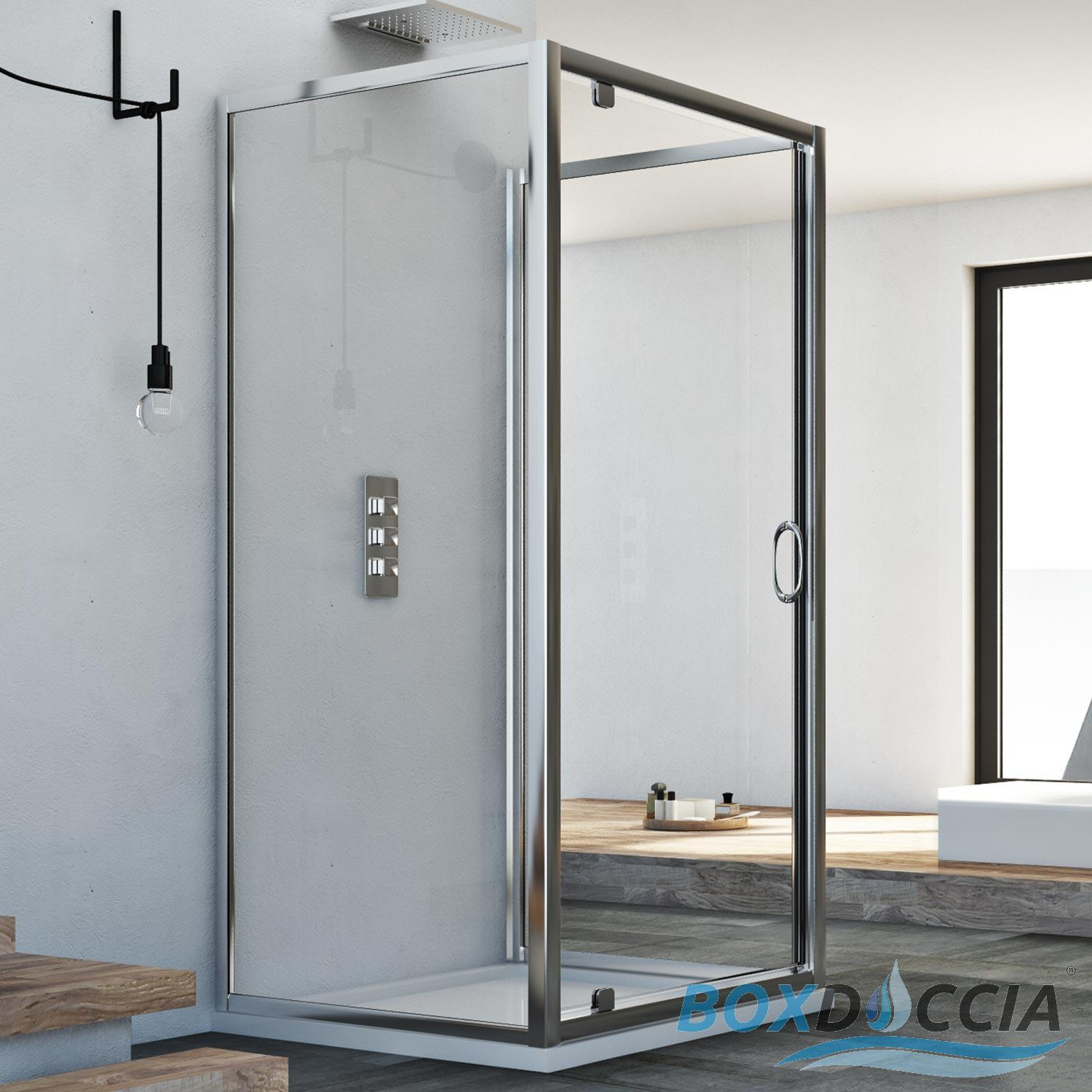 3-SIDED SHOWER ENCLOSURE CUBICLE PIVOT DOOR OPENING FRONT SCREEN ...