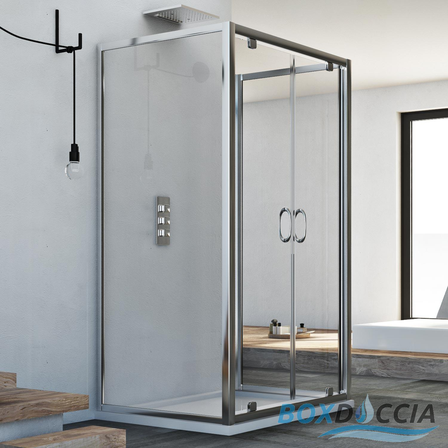3-SIDED SHOWER CUBICLE ENCLOSURE 2 PIVOT DOORS SALOON OPENING 6 MM ...