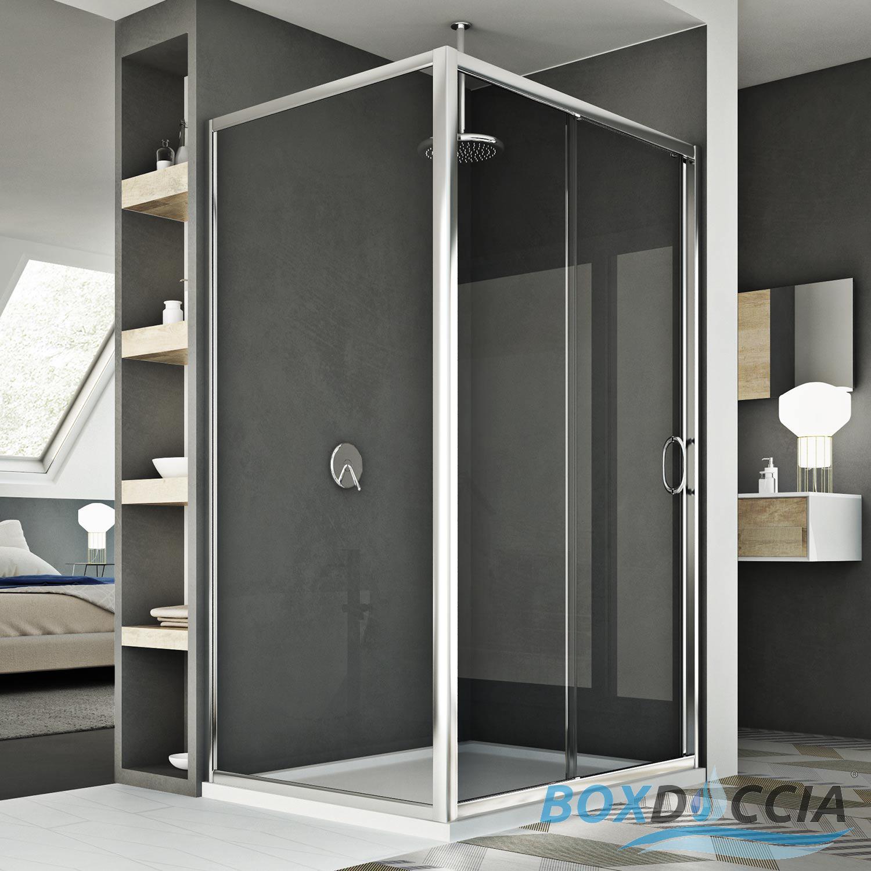 Box doccia 1 anta scorrevole apertura frontale vetro cristallo cabina angolare ebay - Vetro doccia scorrevole ...