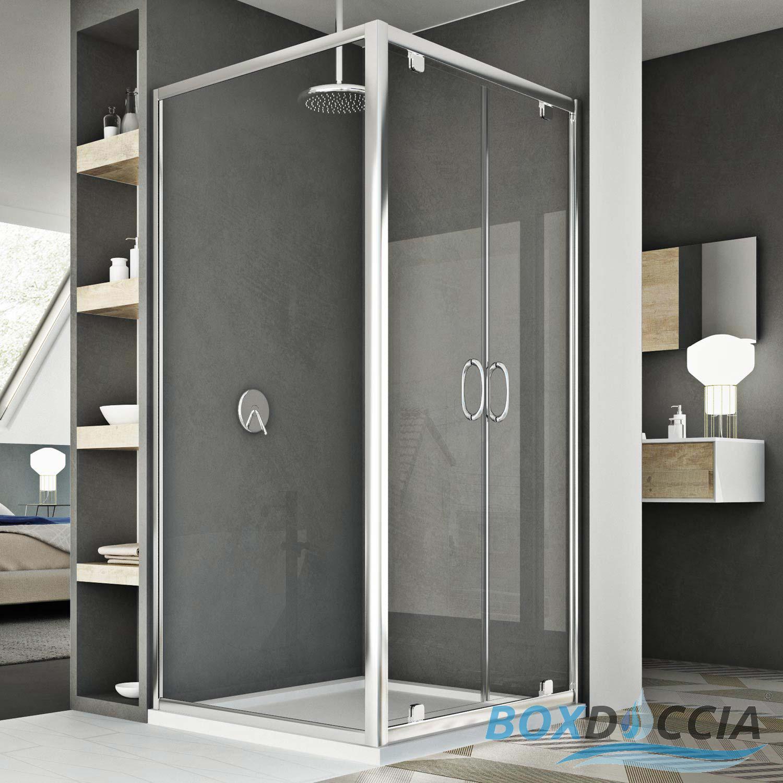 Shower Cubicle 2 Pivot Doors Saloon Opening Corner