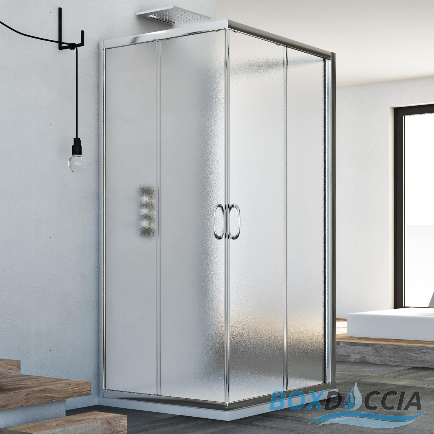 3-sided Shower Cubicle Enclosure 750x750x750 Mm Stippled Glass ...
