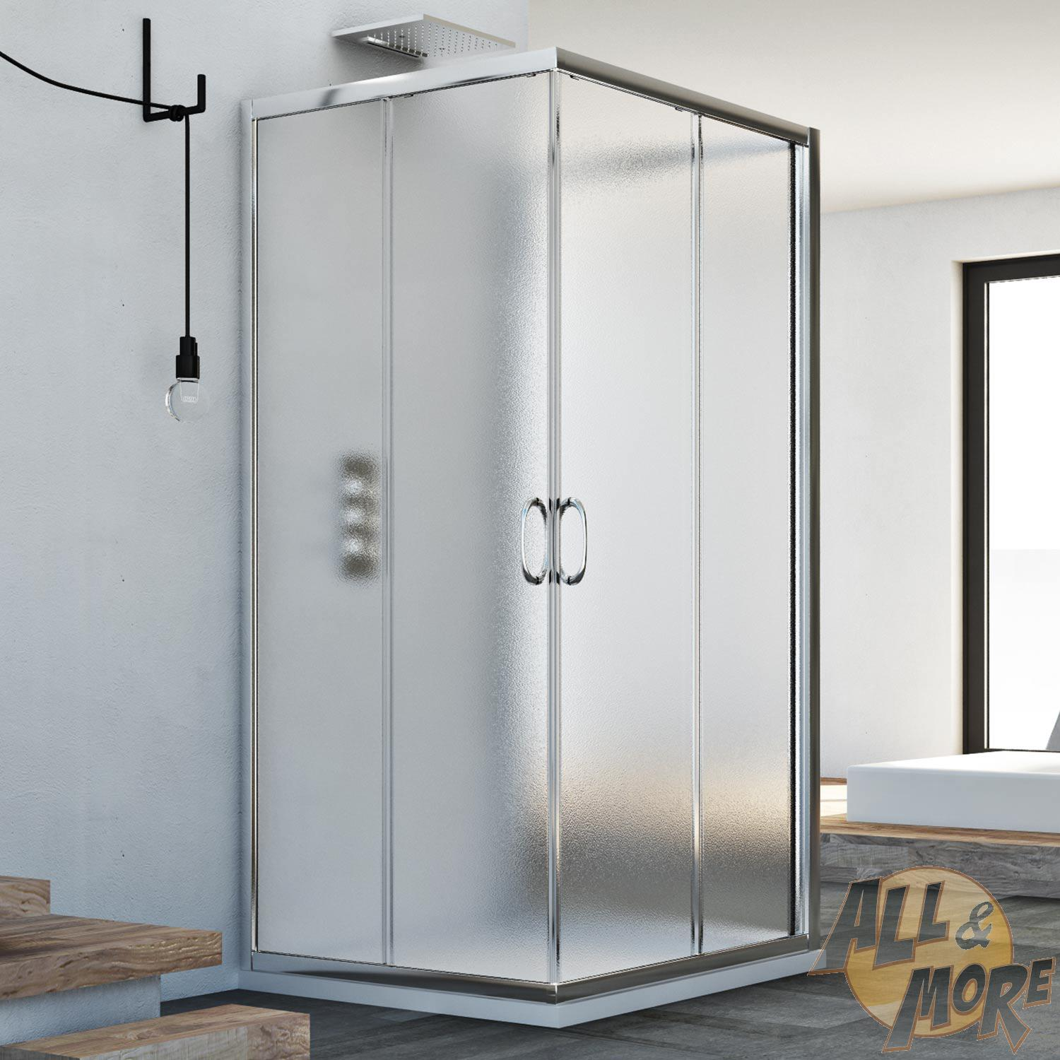 3-SIDED SHOWER CUBICLE ENCLOSURE SHOWER SCREEN GLASS SLIDING DOORS ...