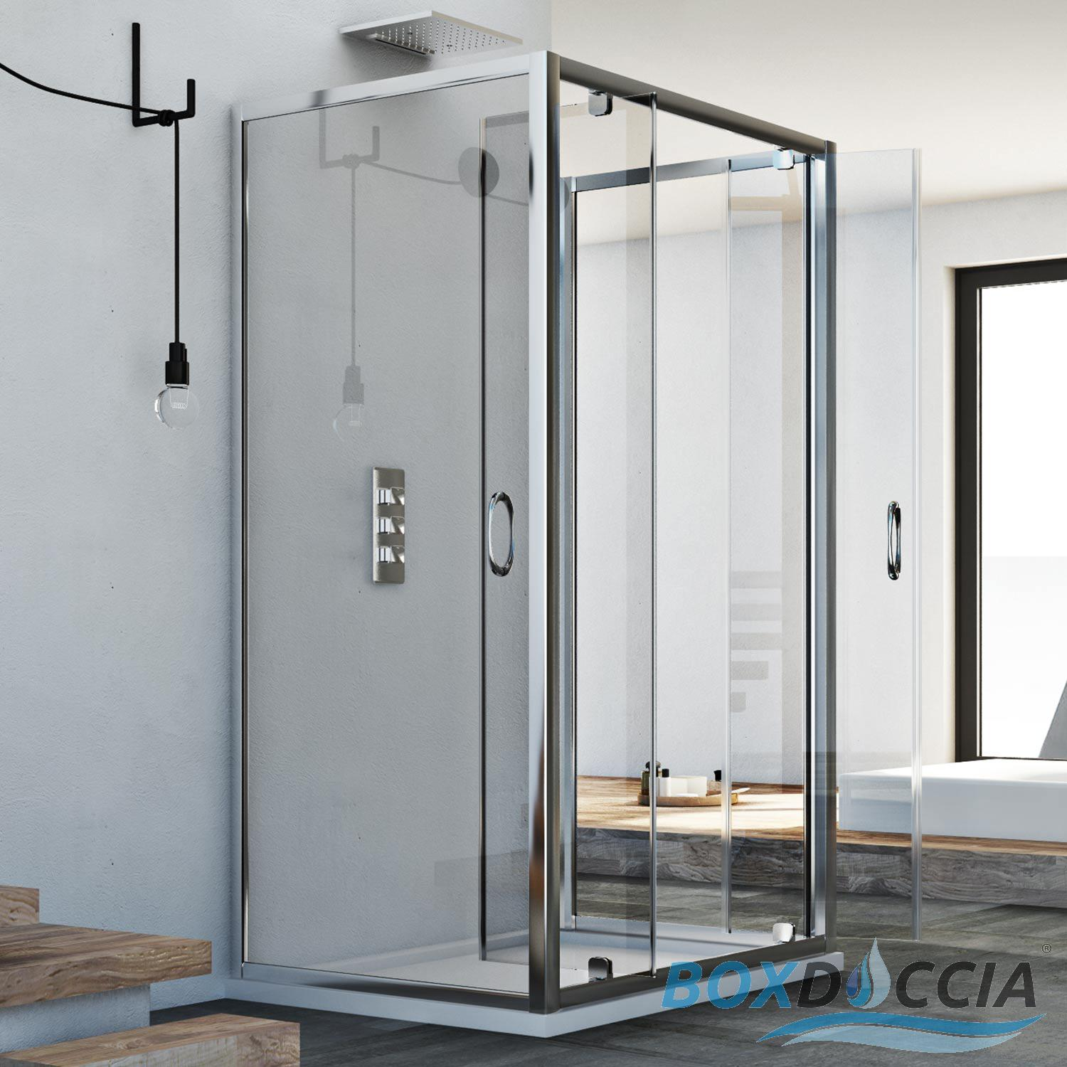 cabine de douche 3 parois verre 2 portes pivot sintesi trio 2 ebay. Black Bedroom Furniture Sets. Home Design Ideas