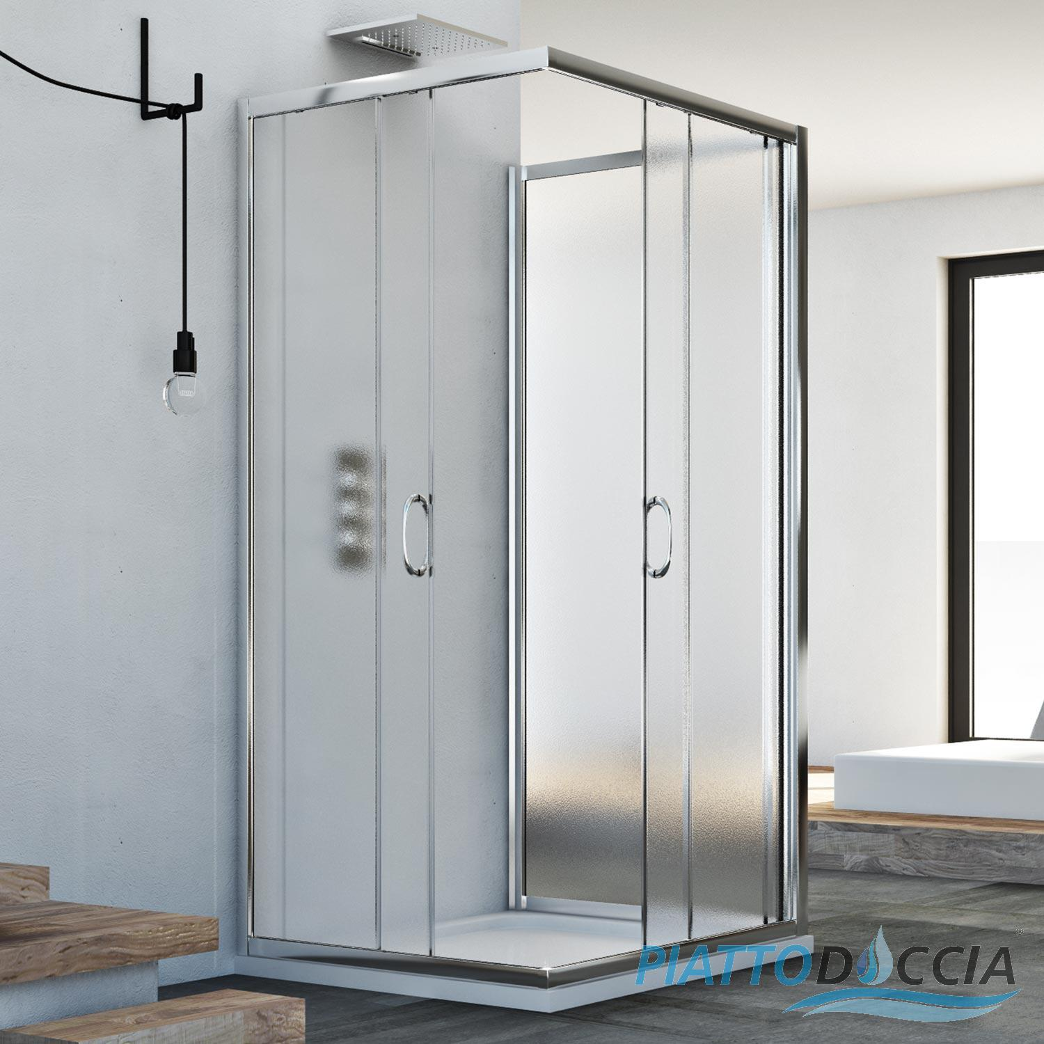 3-SIDED SHOWER CUBICLE ENCLOSURE 700X700X700 MM STIPPLED GLASS ...