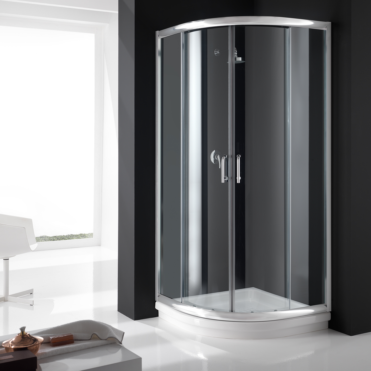 cabine de douche paroi circulaire 80x80 h200 cm verre transparent angulaire ebay. Black Bedroom Furniture Sets. Home Design Ideas