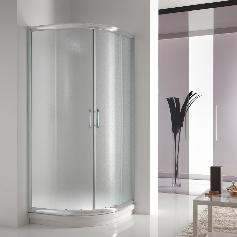 Shower Enclosure Corner Chrome Entry Glass Sliding Screen