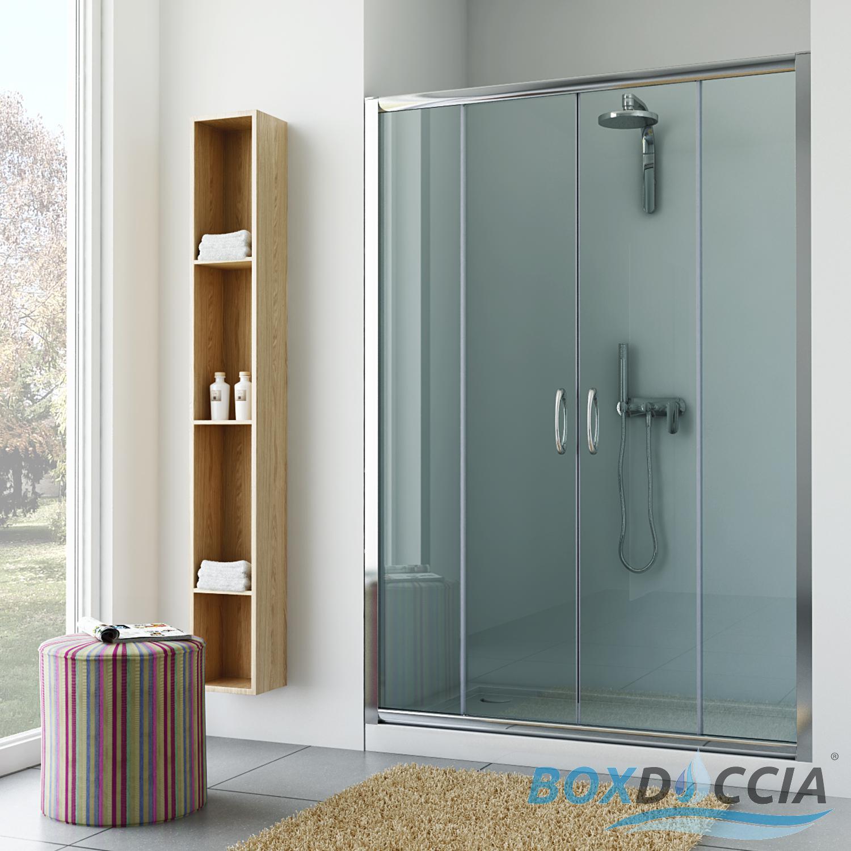 Box cabina doccia nicchia parete porta bagno cristallo - Porta scorrevole bagno ...