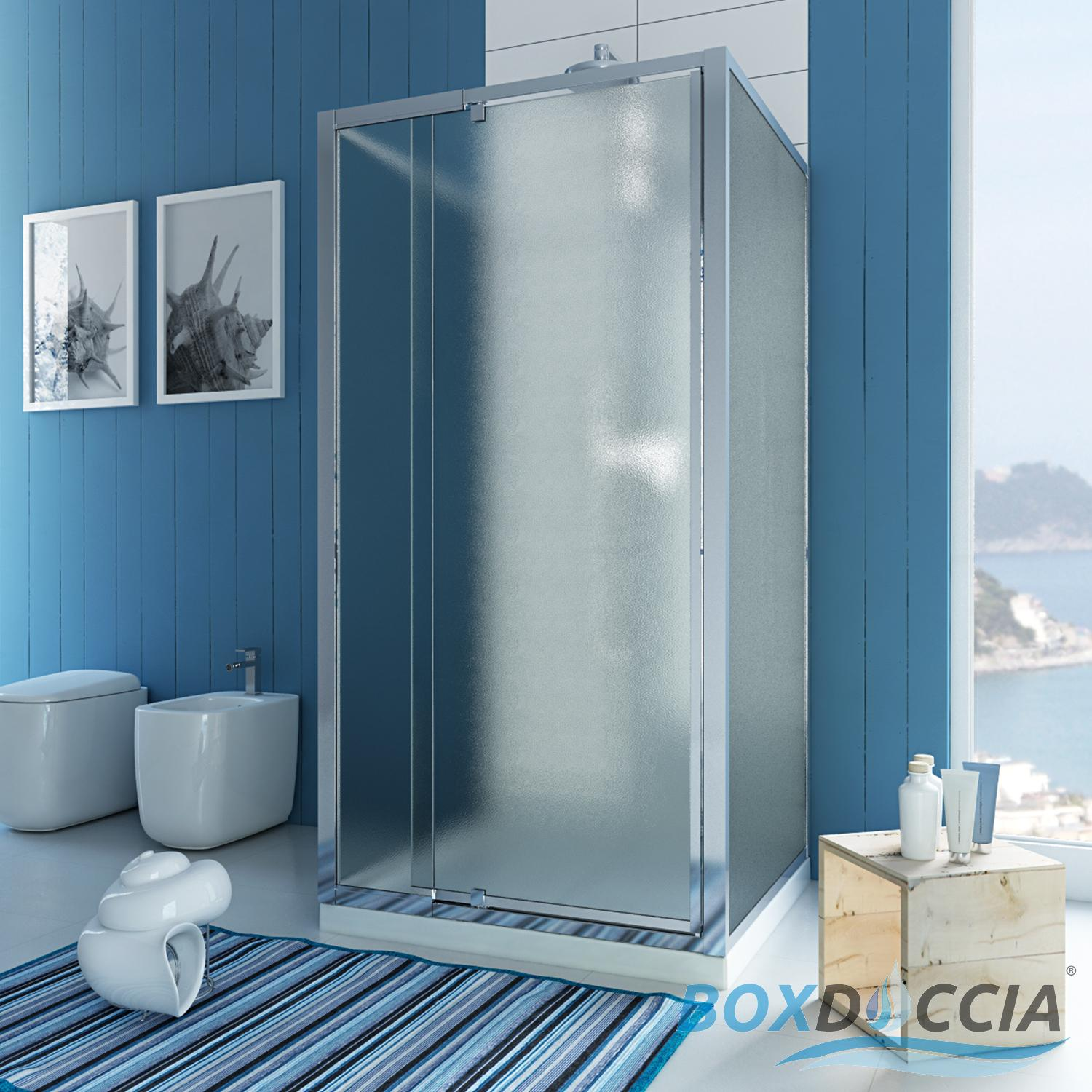 SHOWER ENCLOSURE 3 SIDED PIVOT DOOR HINGE CUBICLE GLASS BATHROOM ...