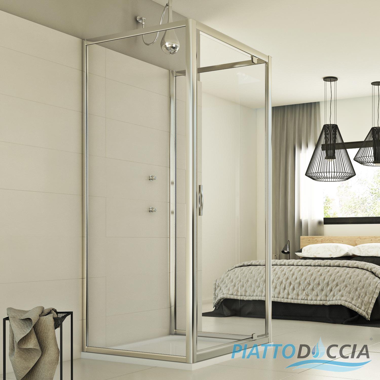 Shower Enclosure 3 Sided Corner Entry Square Glass 1 Pivot Screen