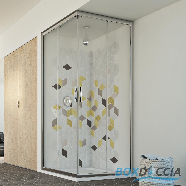 Box cabina doccia vetro chiusura angolare apertura - Chiusura doccia scorrevole ...