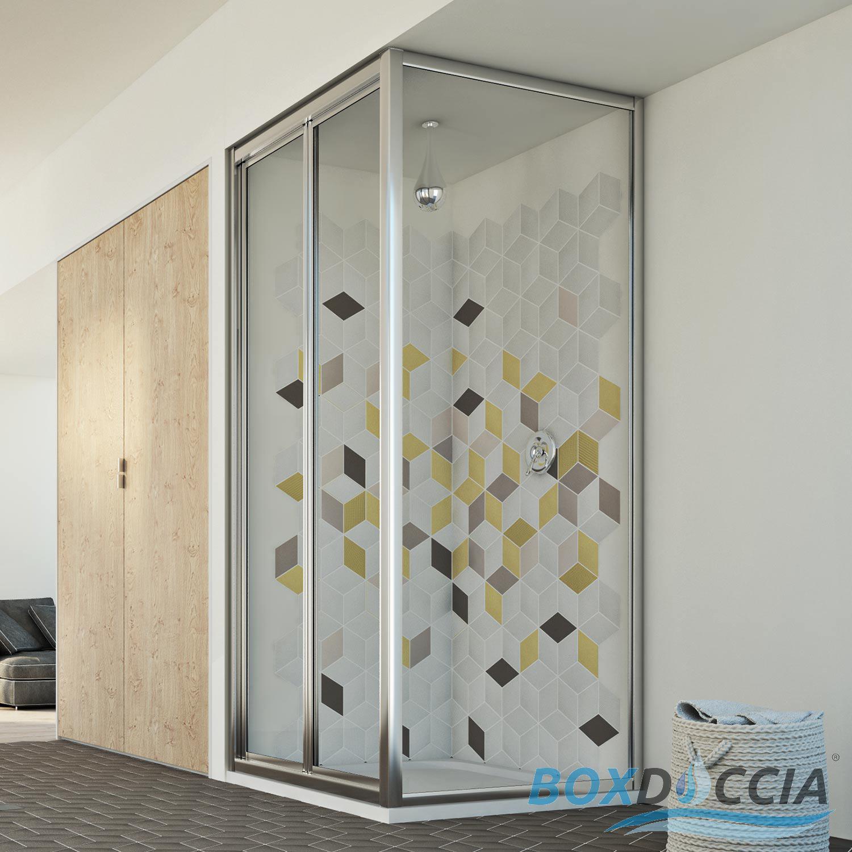cabine de douche 2 parois angulaire verre ouverture