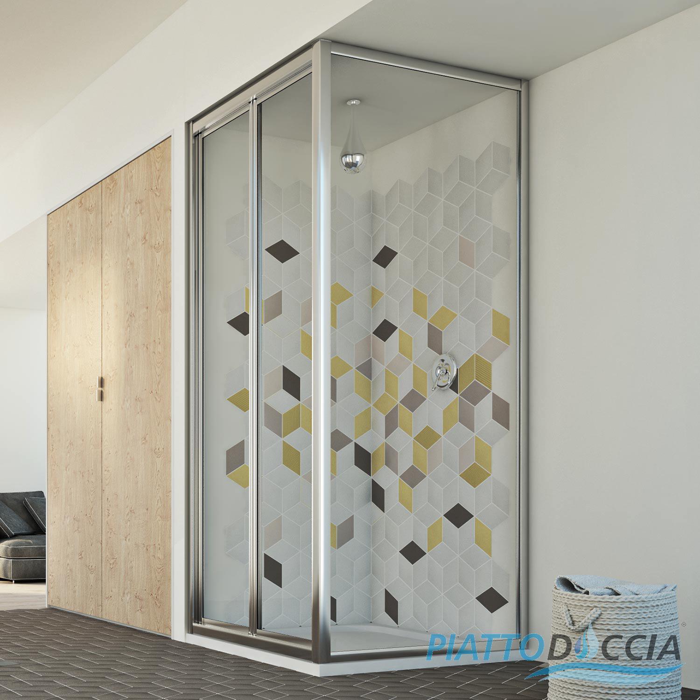 SHOWER ENCLOSURE CORNER ENTRY GLASS SQUARE 1 FOLDING SCREEN DOOR ...