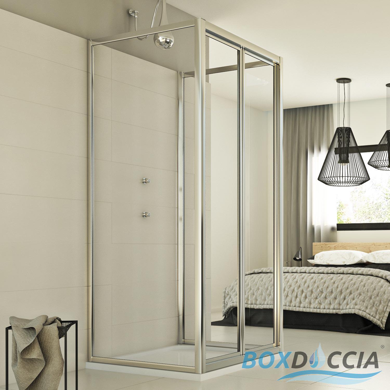 Box cabina doccia a tre 3 lati con porta a libro soffietto parete anta cristallo ebay - Porta cabina doccia ...