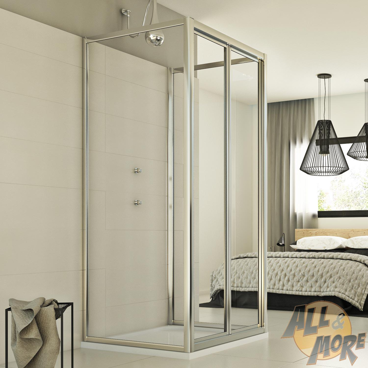 Shower Enclosure 3 Sides 700x800x700 Mm H1980 Clear Glass Infold