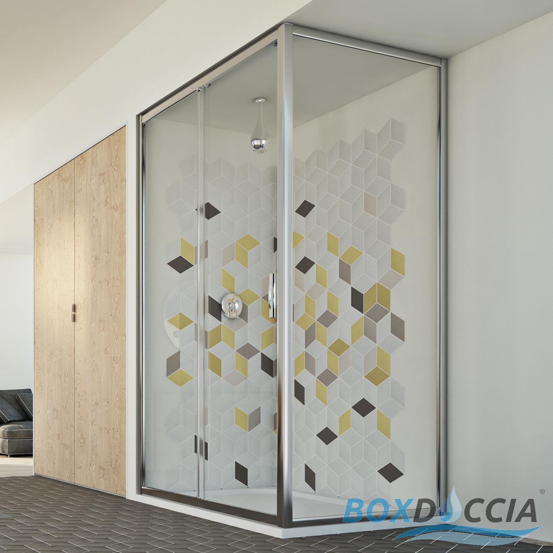 Duschkabine dusche klarglas 90x110 profil eckig 1 seite for Fenster 90x110