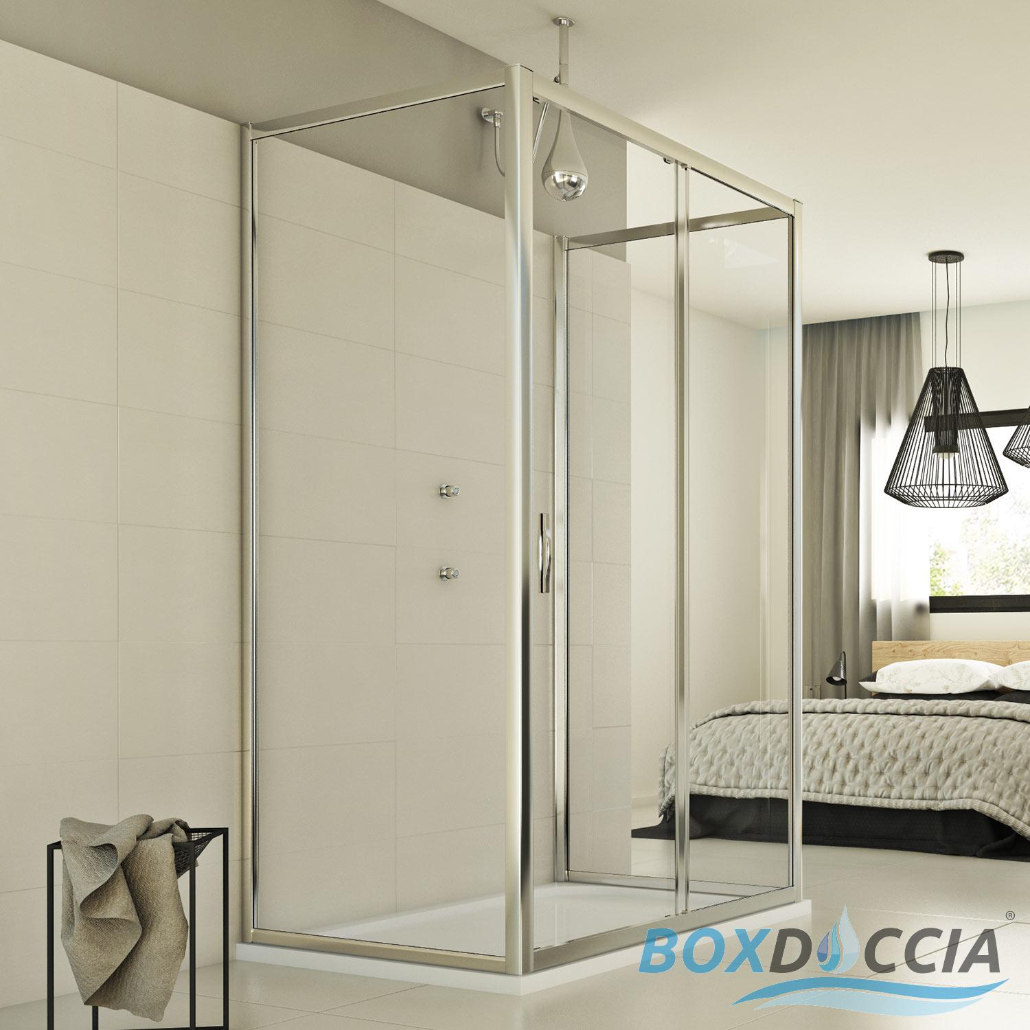 SHOWER ENCLOSURE 3 SIDED CORNER CHROME ENTRY SQUARE GLASS 1 SLIDING ...