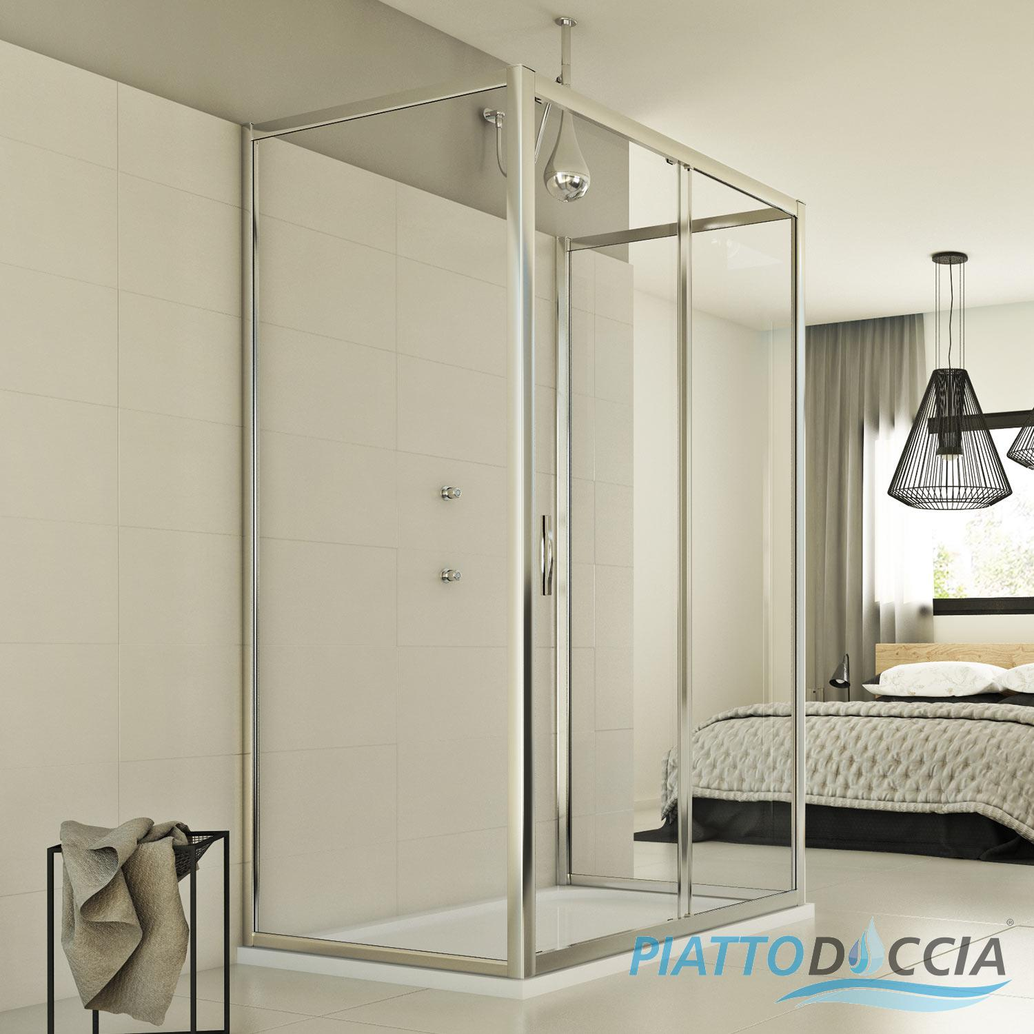 Shower Enclosure 3 Sided Corner Chrome Entry Square Glass 1 Sliding