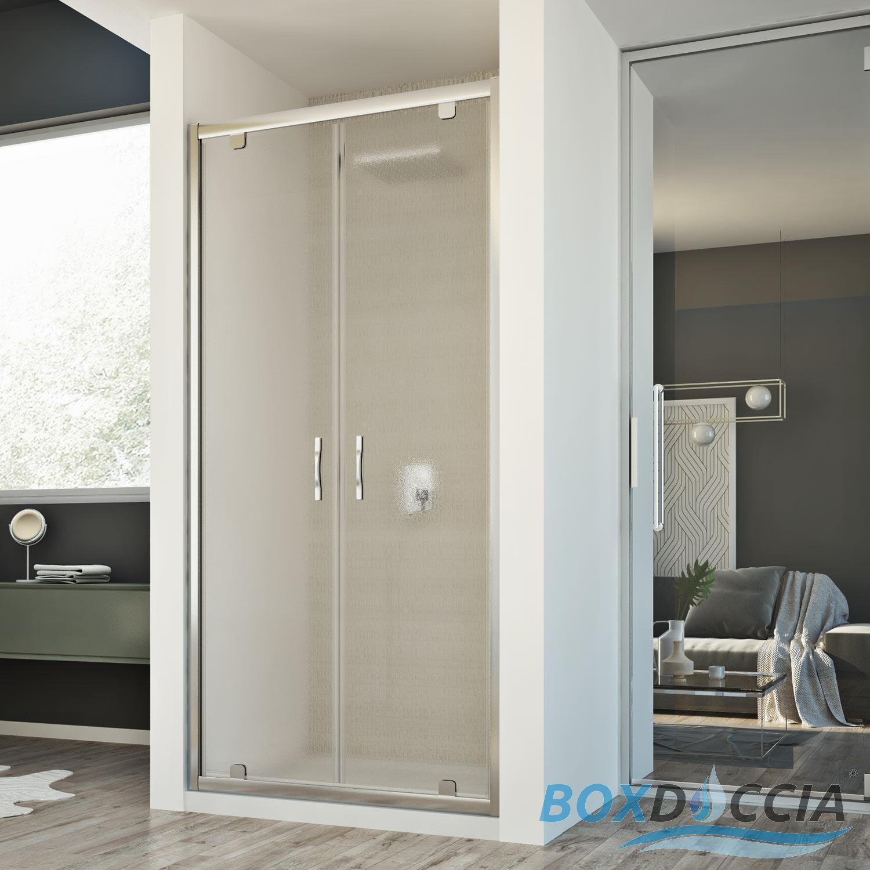 Box cabina doccia nicchia parete porta battente saloon cristallo da 77 a 132 cm ebay - Porta cabina doccia ...