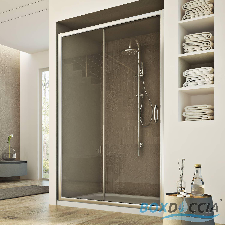 Box cabina doccia nicchia parete porta 1 anta cristallo - Porta accappatoio da doccia ...