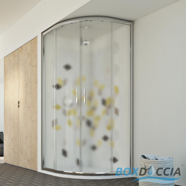 Shower Enclosure Corner Entry Quadrant Round Glass Sliding