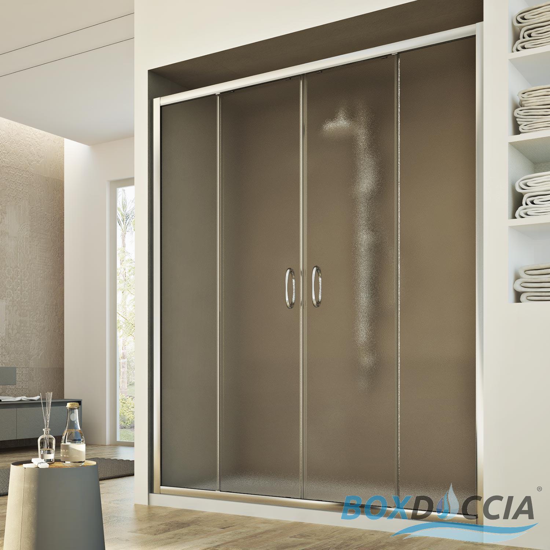 Box cabina doccia nicchia parete porta 2 ante cristallo scorrevoli 117 a 181cm ebay - Ante per doccia ...