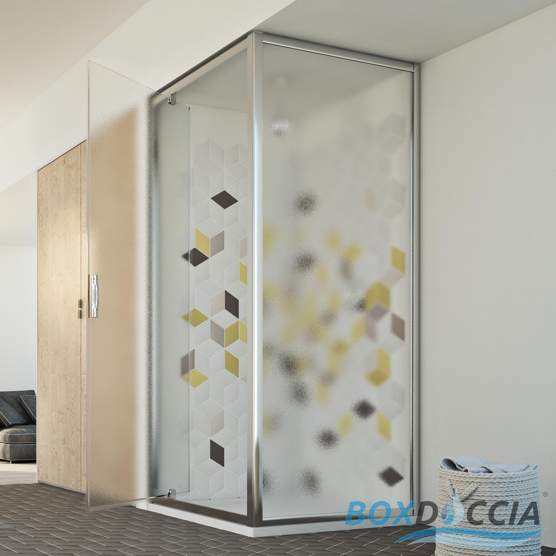 Shower Enclosure Corner Entry Square Glass 1 Pivot Screen